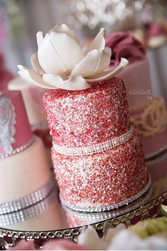diamantina, escarcha comestible rosada, azul y oro