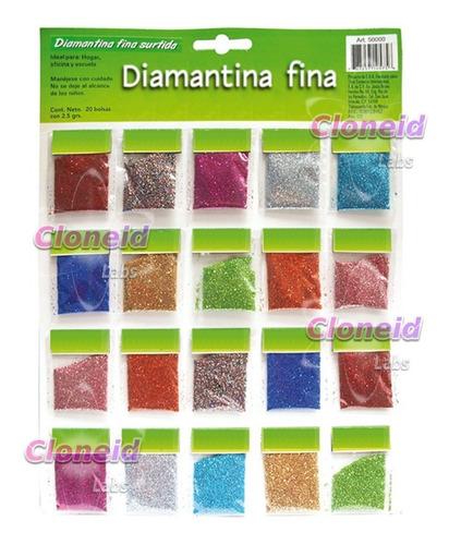 diamantina fina - papelería mercería exhibidor con 20 bolsas