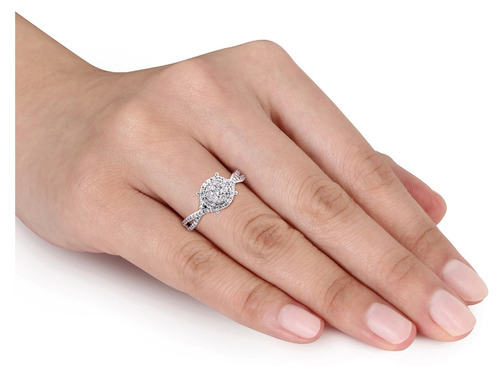 diamond halo engagement ring 1/2 carat (ctw) en 10k de oro b