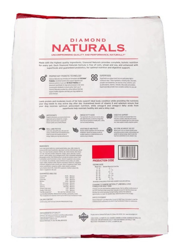 diamond naturals adulto cordero y arroz 40 lbs/ 18kg. nuevo y original