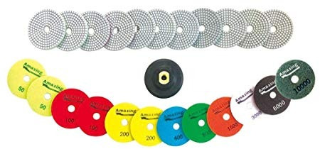 diamond polishing pads 4' inch wet & dry 13 piece set w/rubb
