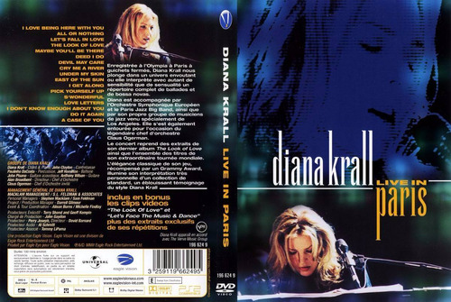 diana krall live in paris - dvd seminovo em òtimo estado