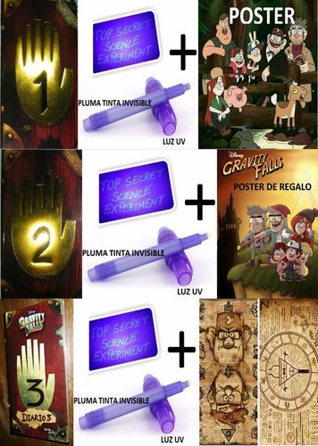 diario 1 + diario 2 + diario 3 gravity falls + luz uv + plum