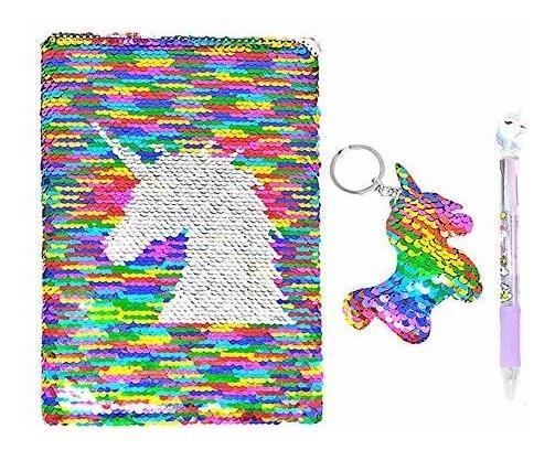niños y niñas Journal Sirena Con Lentejuelas Beinou Unicornio diario de lentejuelas con cerradura y llave