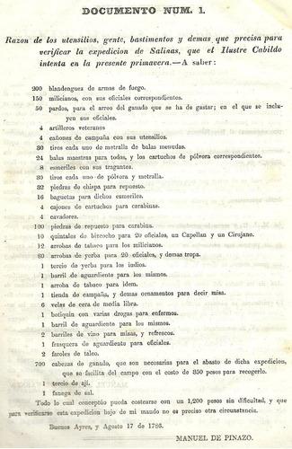 diario de una expedición a salinas en 1786. pablo zizur