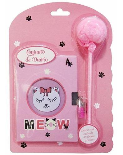 diário infantil cat com cadeado e caneta pom pom