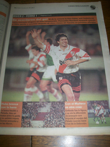 diario ole 27/2/1998 - river 2 ferro 1 / jose luis chilavert