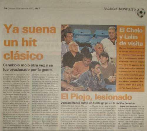 diario ole 31/03/2001-- mueve montañas  racing 2 newell`s 0