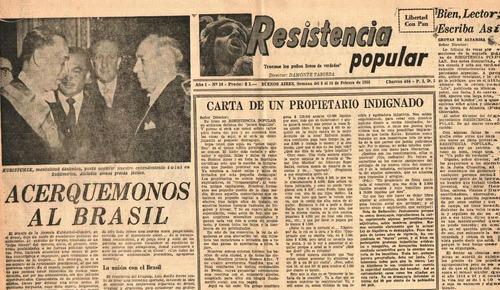 diario resistencia popular - 14 de febrero de 1956 peronismo