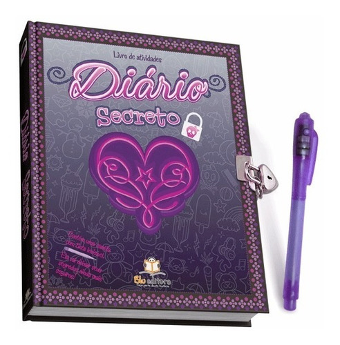 diário secreto com caneta mágica e cadeado capa preta