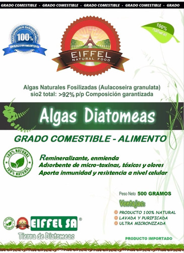 diatomeas comestibles con certificado 500 gramos oferta