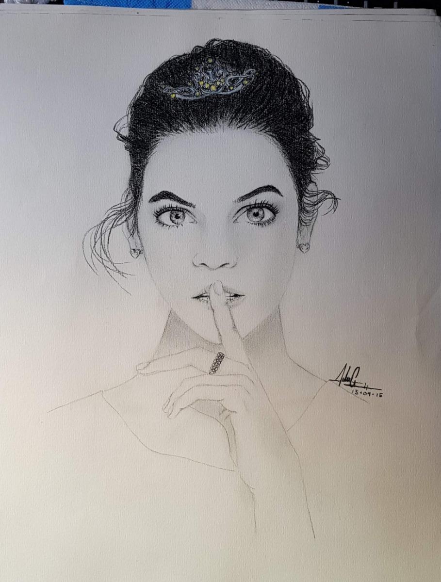 Dibujo A Lapiz Carboncillo Bic Acuarela Portrait Art 489 00