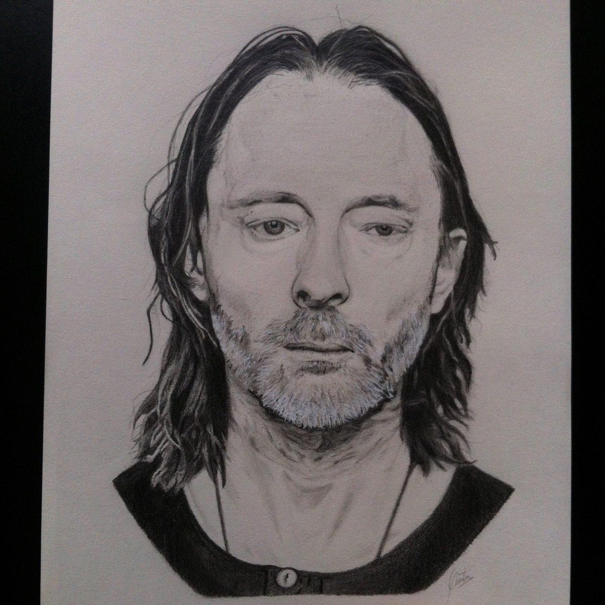 Dibujo A Lapiz Carboncillo Retrato Thom Yorke Radiohead S 70 00