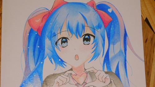 dibujo anime de hatsune miku prismacolor premier strathmore