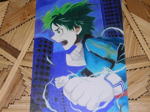 dibujo anime izuku midoriya boku no hero academia prismacolo