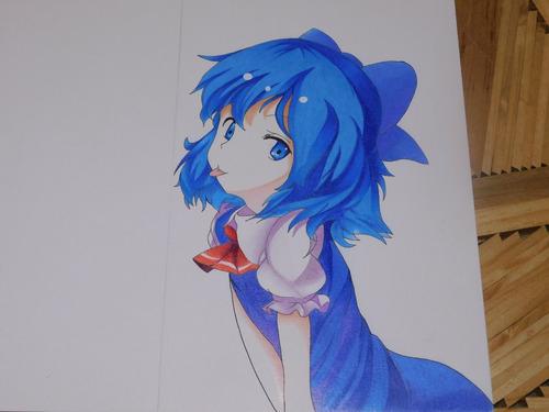 dibujo anime touhou project cirno strathmore prismacolor pre