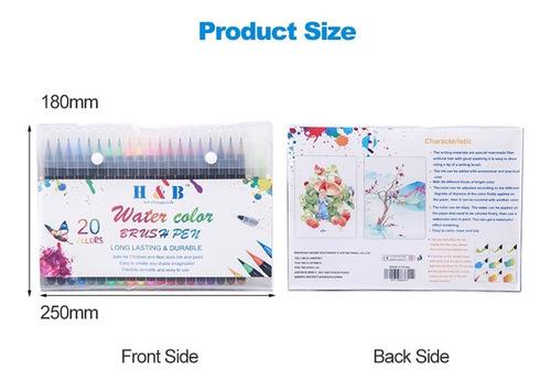 dibujo & b 20 de color acuarela cepillo pluma set arte marke