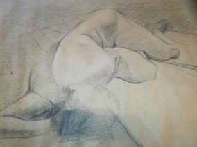 Dibujo Carbonilla Desnudo De Mujer Firmado Cairoli