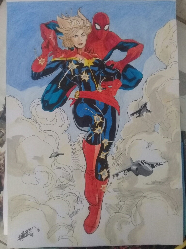Dibujo De Capitana Marvel Y Spiderman Comic Tradicional 30000
