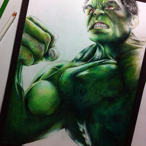 dibujo de hulk de los vengadores pintado con prismacolors