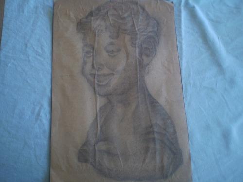 dibujo en técnica carbón busto  26x34 cm