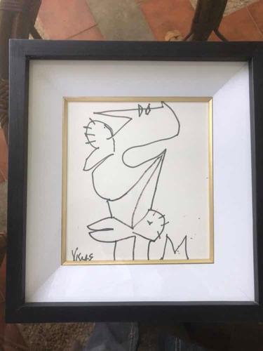 dibujo oswaldo vigas original $400 con certificado .. ganga