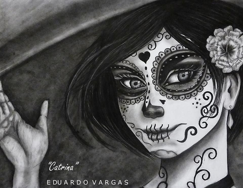 Dibujo Realista Catrina Mexicana Día D Muerto Lápiz Carbón