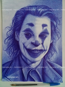 Dibujo Retrato Joker Guason Con Bic Azul Dc Comics Batman