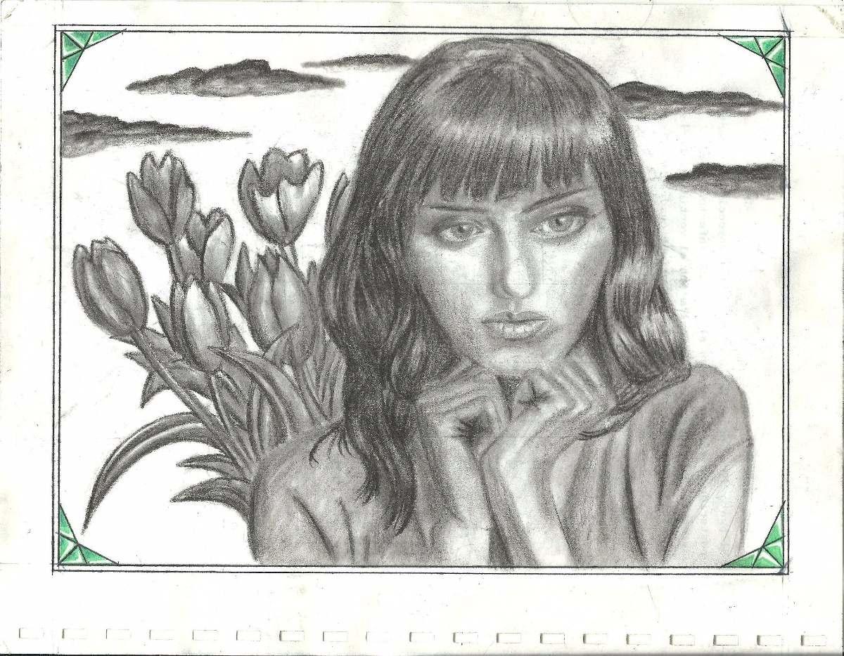 Dibujo Surrealista A Carboncillo Tulipanes 110 00 En Mercado Libre