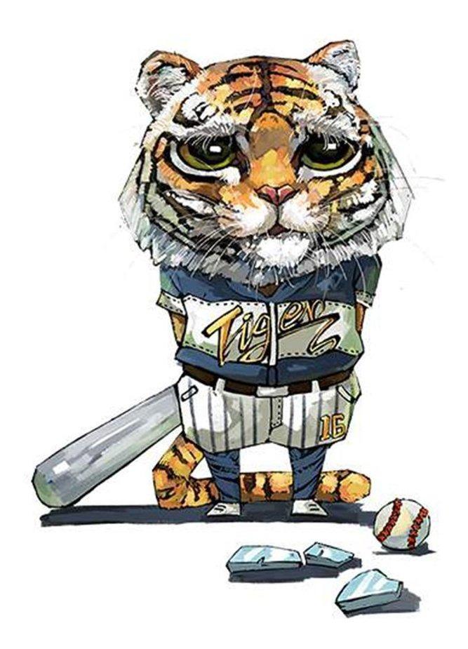 Dibujos Animados Tigre Meng Ilustración Parche Vinilo Etique