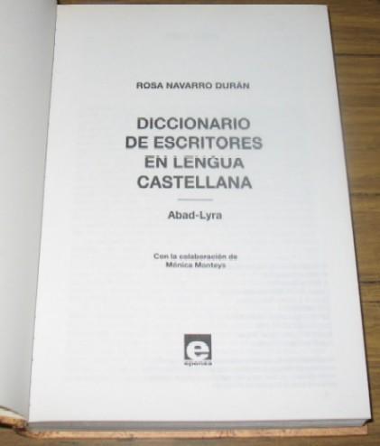 diccionario de escritores en lengua castellana 1 literatura