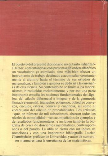 diccionario de matemáticas lucien chambadal pasta dura 1a ed