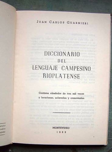 diccionario del lenguaje campesino rioplatense, guarnieri