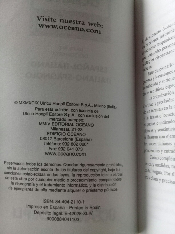 Diccionario Océano Práctico Español Italiano Italiano Españo 38000