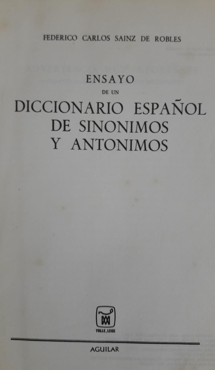 f984ab85cbb7 Diccionario Sinonimos Y Antónimos De Sainz De Roble 1967 -   350