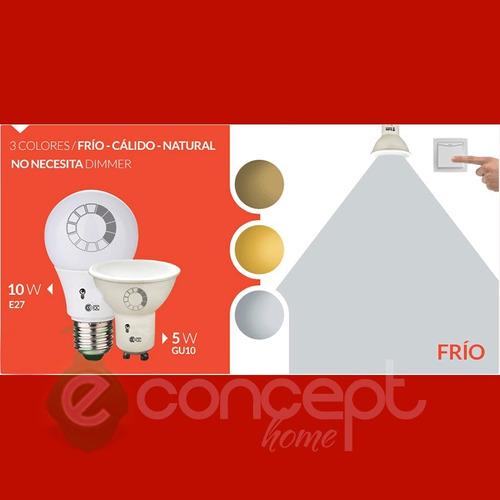 dicroica led 5w cambia entre tres colores frio calico neutro