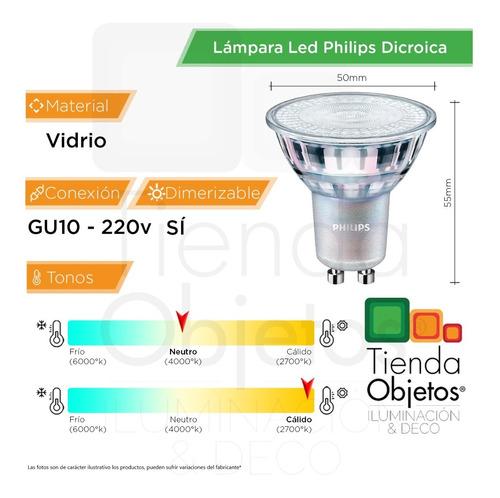 dicroica led philips 4.9w gu10 220v dimerizable nuevo modelo