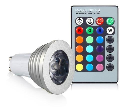 dicroica led rgb w 3w con control remoto de 15 color + frio