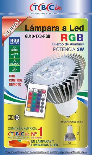 dicroica led tbcin rgb 3w con control remoto
