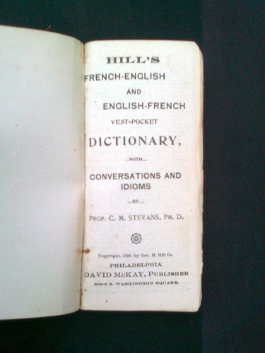dictionary french-english english-french, c. m. stevans