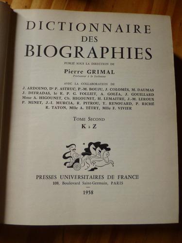 dictionnaire des biographies, pierre grimal (dos tomos)