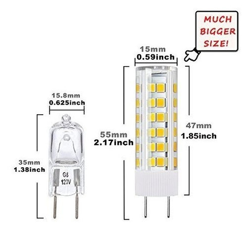 dicuno g8 bombilla led regulable 6w blanco calido 3000k 120v