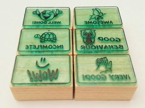 didácticos set de sellos de goma  para maestros - ingles m-5