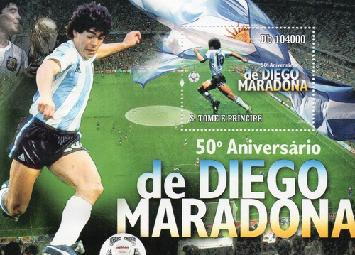 diego armando maradona - 50 aniversario - hoja de s. tome