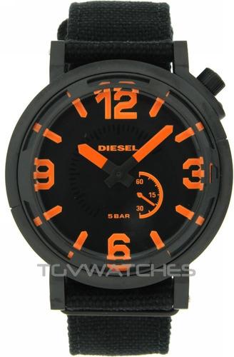 diesel dz1471 black dial black fabric mens nuevo