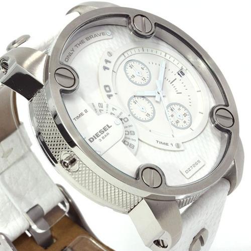 diesel dz7265 sba white leather xl dial mens entrega inmedia