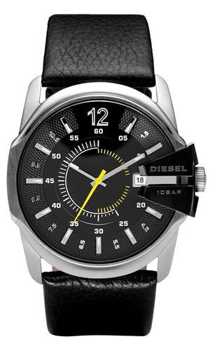 diesel - relógio masculino preto pulseira em couro e caix...