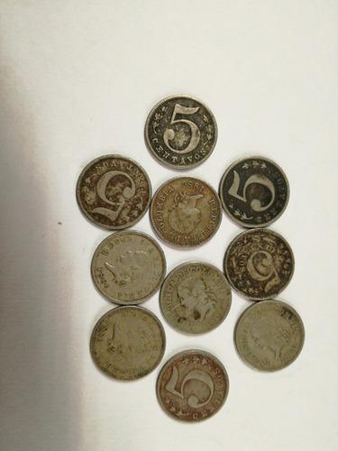 diez monedas de 5 centavos colombia 1886