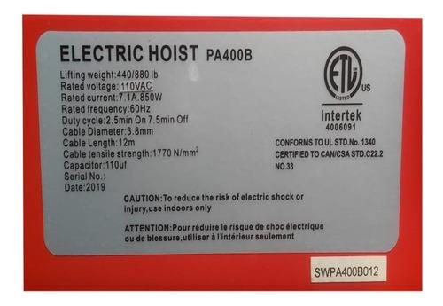 diferencial electrica - polipasto 400 kg 12 metros 110 v