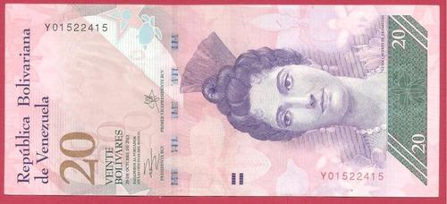 dificil billete de 20 bs oct 2013 y8 circulado bs 587.100._